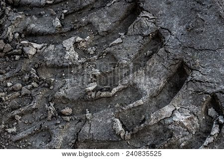Track Of A Heavy Tractor On Plowed Field