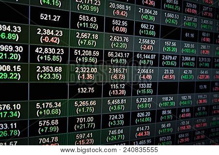 Stock Market Index Graph Of Stock Market Financial Indices Analysis On Led Display Concept. Abstract