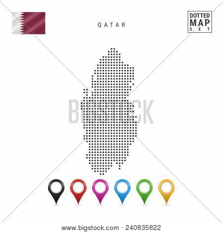 Dotted Map Of Qatar. Simple Silhouette Of Qatar. The National Flag Of Qatar. Set Of Multicolored Map