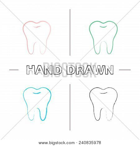 Healthy Tooth Hand Drawn Icons Set. Color Brush Stroke. Isolated Vector Sketchy Illustrations