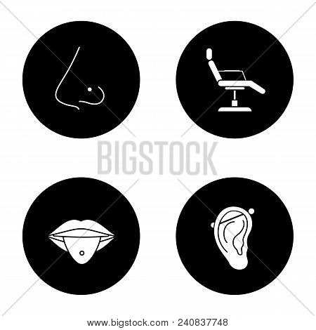 Tattoo Studio Glyph Icons Set. Piercing Service. Pierced Nose And Tongue, Tattoo Chair, Industrial P