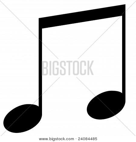 Eighth note, a double on a white background