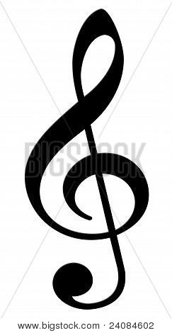 Treble clef on a white background (musical symbol)