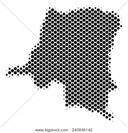 Abstract Democratic Republic Of The Congo Map. Vector Halftone Territory Plan. Cartographic Dotted C