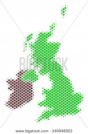 Abstract Great Britain And Ireland Map. Vector Halftone Geographical Plan. Cartographic Pixelated Co