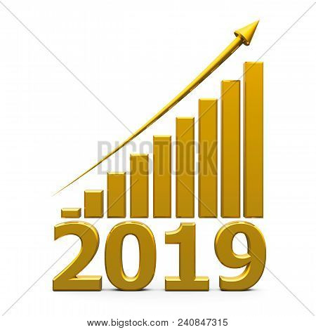Gold Business Graph With Gold Arrow Up Represents The Growth In 2019 Year, Three-dimensional Renderi