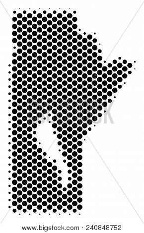 Abstract Manitoba Province Map. Vector Halftone Territorial Plan. Cartographic Dot Composition. Sche