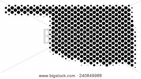 Abstract Oklahoma State Map. Vector Halftone Territorial Plan. Cartographic Pixelated Abstraction. S