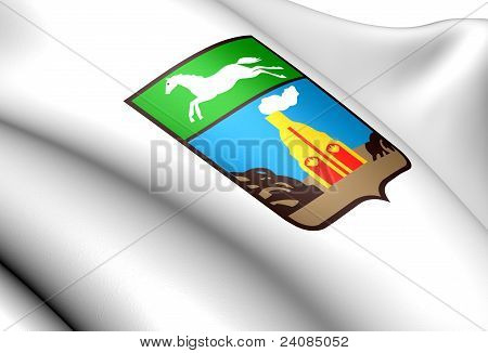 Barnaul coat of arms. Close up. Front view. poster