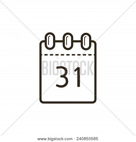 Black And White Linear Icon Of The Tear-off Calendar With Number Thirty-one