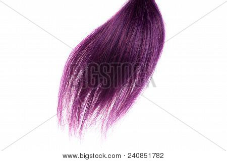 Closeup Purple Weft Of Hair Isolated On White