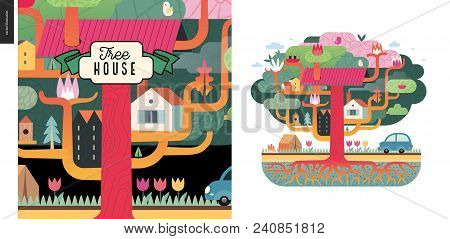 Tree House Concept - A Tree With Houses, Birds, Nest, Flowers And Birdhouse On It, A Car And Tent Wi