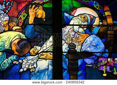 Detail Of Art Nouveau Stained Glass Window By Alfons Mucha, St. Vitus Cathedral, Prague Castle, Czec