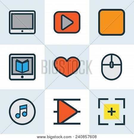 Multimedia Icons Colored Line Set With Full Screen, Stop, Tablet And Other Play Elements. Isolated V