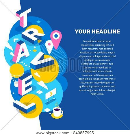 Vector Creative Concept Illustration Of 3d Word Brand Lettering Typography With Decor Element, Text