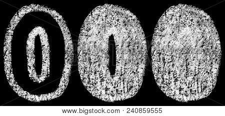 Handwritten White Chalk Arabic Number 0 Isolated On Black Background, Hand-drawn Chalk Numerals, Sto