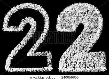 Handwritten White Chalk Arabic Number 2 Isolated On Black Background, Hand-drawn Chalk Numerals, Sto