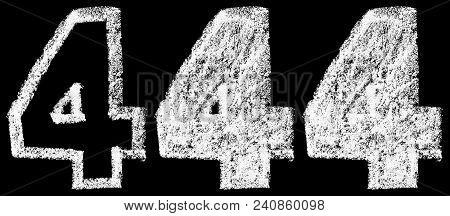 Handwritten White Chalk Arabic Number 4 Isolated On Black Background, Hand-drawn Chalk Numerals, Sto