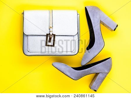Footwear For Women With Thick High Heels And Bag, Top View. Fashionable Accessories Concept. Pair Of
