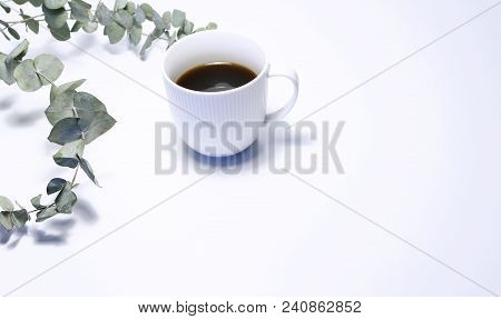 Styled Stock Photo. Feminine Still Life Composition With Cup Of Coffee, And Bouquet Of Eucalyptus Br