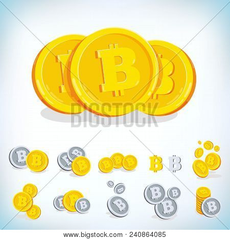 Bitcoin. 2d Cartoon Bit Coin. Digital Currency. Cryptocurrency. Golden Coins With Symbol Isolated On