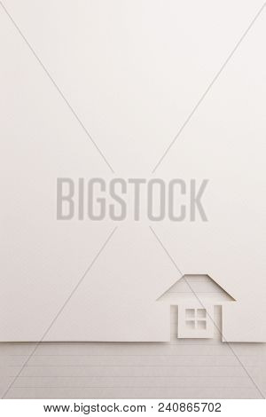 Background Of White Paper Cutout In Complete House Shape Border By Black Line Notepaper, For Home An