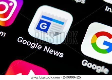 Sankt-petersburg, Russia, May 10 2018: Google News Application Icon On Apple Iphone X Smartphone Scr