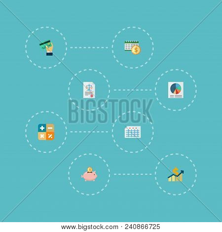 Set Of Registration Icons Flat Style Symbols With Law, Circle Chart, Profit And Other Icons For Your