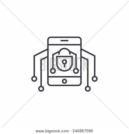Mobile Threats Line Icon, Vector Illustration. Mobile Threats Linear Concept Sign.
