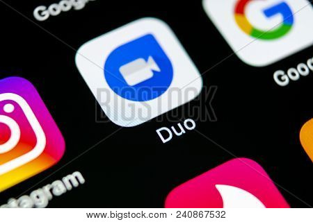 Sankt-petersburg, Russia, May 10 2018: Google Duo Application Icon On Apple Iphone X Smartphone Scre