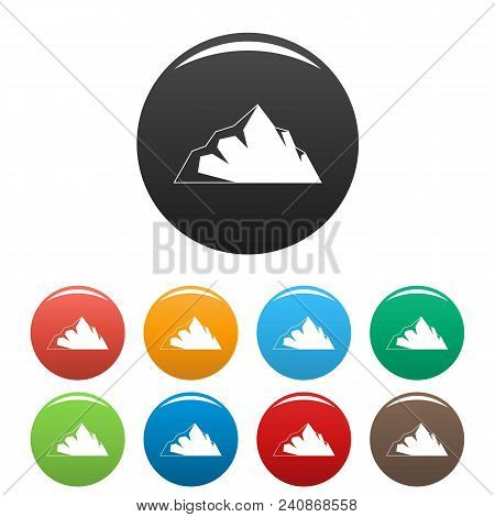 Exploration Of Mountain Icon. Simple Illustration Of Exploration Of Mountain Vector Icons Set Color