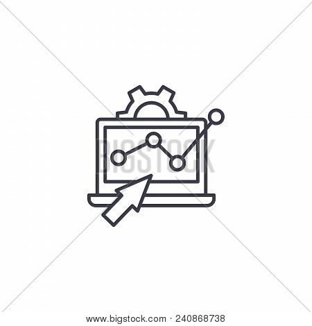 Monitoring Trends Line Icon, Vector Illustration. Monitoring Trends Linear Concept Sign.