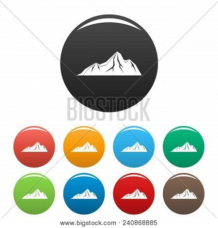 Tall Mountain Icon. Simple Illustration Of Tall Mountain Vector Icons Set Color Isolated On White