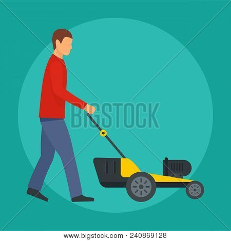 Man cut the grass icon. Flat illustration of man cut the grass vector icon for web design poster