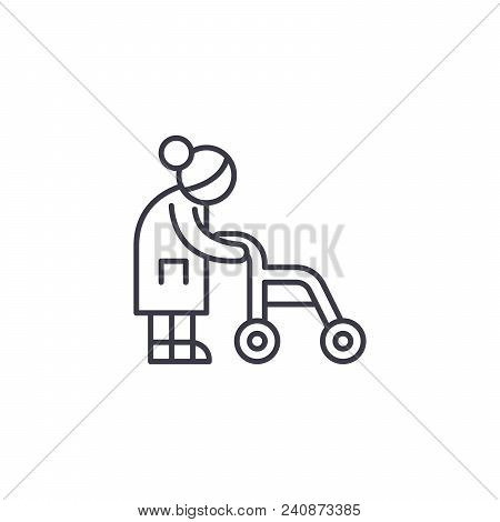 Old-aged Woman Line Icon, Vector Illustration. Old-aged Woman Linear Concept Sign.