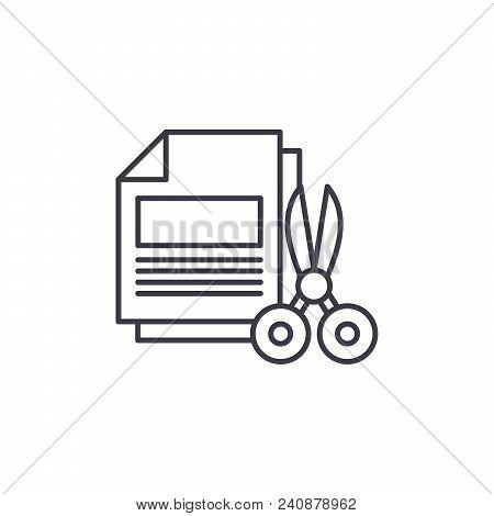 Paper Shredding Line Icon, Vector Illustration. Paper Shredding Linear Concept Sign.
