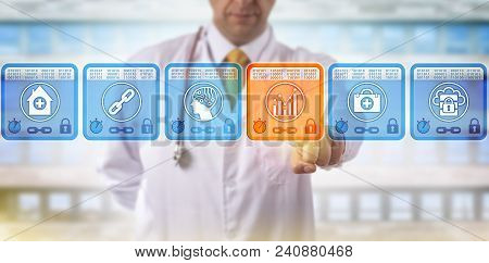 Unrecognizable Doctor Of Medicine Selecting Analytics Data Block In Medical Blockchain. Healthcare I