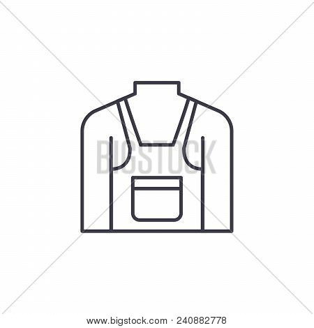 Pinafore Line Icon, Vector Illustration. Pinafore Linear Concept Sign.