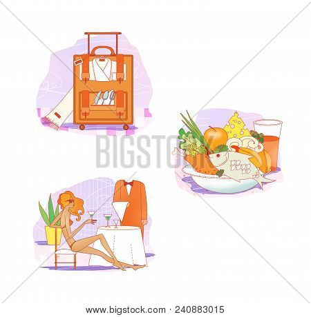 Etiquette. Clothes For Rest And Travel. Suitcase With Clothes And Dishes. A Girl In A Bathing Suit I