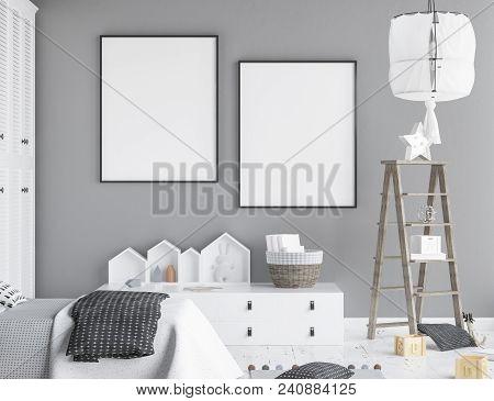 Mock Up Poster Frame In Children Room, Scandinavian Style Interior Background, 3d Illustration