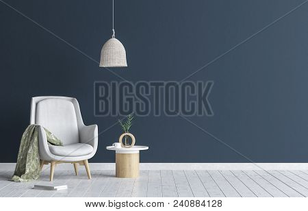 Chair With Lamp And Coffee Table In Living Room Interior, Dark Blue Wall Mock Up Background, 3d Illu