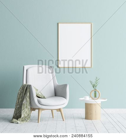 Mock Up Poster Frame In Living Room Background, Scandinavian Style Interior, 3d Illustration