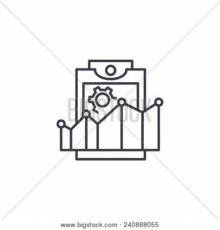 Productivity Rates Line Icon, Vector Illustration. Productivity Rates Linear Concept Sign.