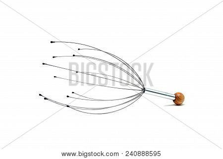 Human Head Scratcher Tool Over White Background