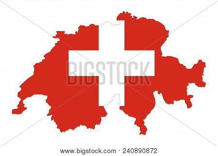 Flag Of Switzerland In Country Silhouette. Landmass And Borders As Outline, Within The Banner Of The