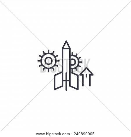 Project Startup Line Icon, Vector Illustration. Project Startup Linear Concept Sign.