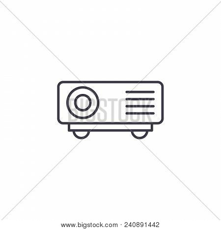 Projector Line Icon, Vector Illustration. Projector Linear Concept Sign.