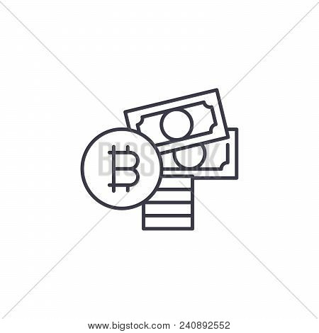 Purchase Of Bitcoin Line Icon, Vector Illustration. Purchase Of Bitcoin Linear Concept Sign.