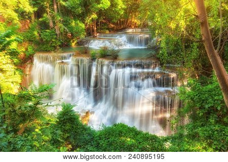 Huay Mae Kamin Waterfall, Beautiful Waterfall In Rainforest At Kanchanaburi, Thailand.