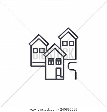 Residential Block Line Icon, Vector Illustration. Residential Block Linear Concept Sign.